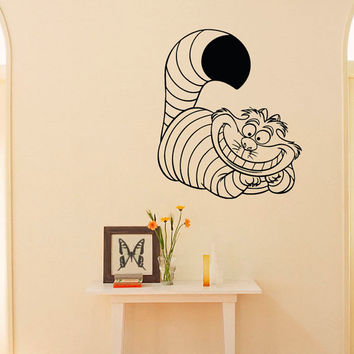 Alice In Wonderland Wall Decal Vinyl Sticker Cheshire  Cat Decal Wall Art  Home Decor