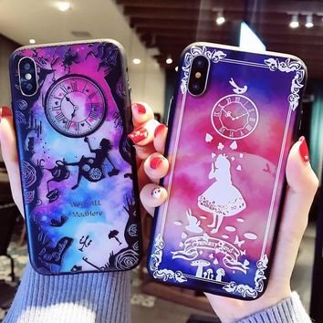 Super-embossed Alice Wonderland Dreamy Soft-edge TPU Back Cover Case For iPhoneX 8/6s 7plus Skin Shell Protection