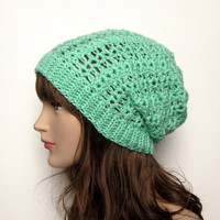 Mint Green Slouchy Crochet Hat - Womens Slouch Beanie - Ladies Oversized Lacy Cap - Spring Fashion Accessories