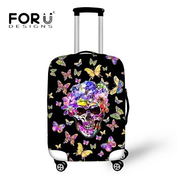 FORUDESIGNS Vintage Punk Skull Luggage Protective Covers 3D Butterfly Printed Trunk Case for 18-30 Inch Suitcase Elastic Thicked