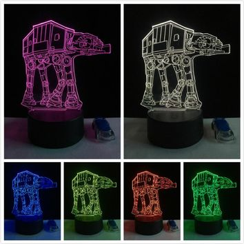 Star Wars All Terrain Armored Transport Shuttle Color-Changing USB-Powered 3D LED Night Light Desk Lamp Gift for Boys and Kids