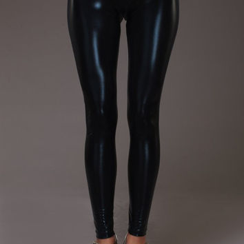Black Foil Metallic Rave Leggings