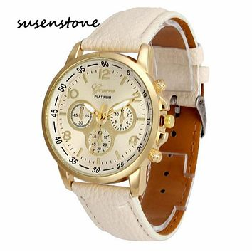 SUSENSTONE Top Brand Men Luxury Vintage Quartz WristWatch Famous Fashion Women Geneva Simple Design Clock Relogio Feminino 20#10