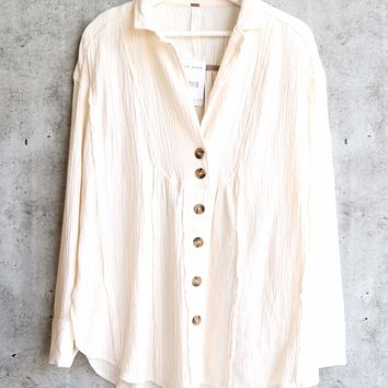 Free People - All About The Feels Linen Button Down Top - Ivory