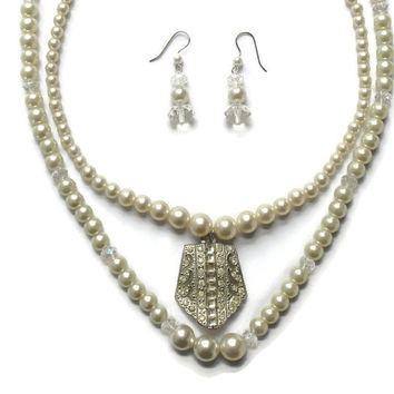 Double Strand Faux Pearl and Crystal Necklace and Earring Set Wedding Jewelry  Bridal Jewelry Set Assemblage Jewelry Set Up Cycled Jewelry