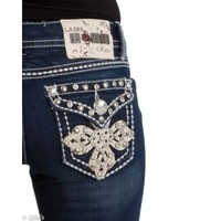 LA Idol Jeans Dark Cloud Stud Pocket Bootcut 3526LP