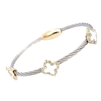 Magnetic Lock Four Clover Twisted Cable Cuff Bracelet