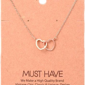 Must Have-Double Heart Necklace, Rose  Gold