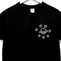 Saturn and stars Ladies Tee T-Shirt Fashion Trendy Hipster Quote TQI
