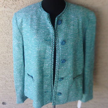 Authentic 70s vintage jacket suit coat blazer Madmen with tag never worn  spearmint and black green size 12 petite