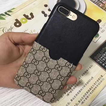 Gucci iphone 7plus phone shell leather card iPhone6 / 7/8 protective sleeve couple mod