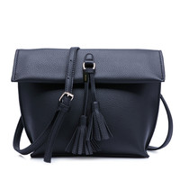 Dumpling PU Leather Small Shoulder Crossbody Bag Purse with Tassel