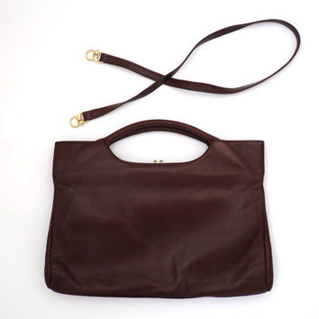 Vtg Classic ladies handbag Elbief England Kelly bag Brown leather bag Evening  bag Retro 70s shoulder bag Elegant handbag 80s handbag