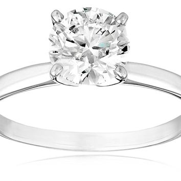 2 Carat IGI Certified 18k Gold Round-Cut Diamond Engagement Ring
