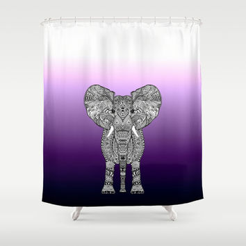 PURPLE OMBRE ELEPHANT Shower Curtain by Monika Strigel