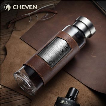CHEVEN 550ml Portable Glass Water Bottle with Stainless Steel Cap & Leather Sheath