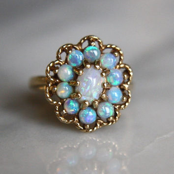 ANTIQUE OPAL 14k gold Art Deco era vintage halo engagement cocktail ring circa 1940 size 5.5