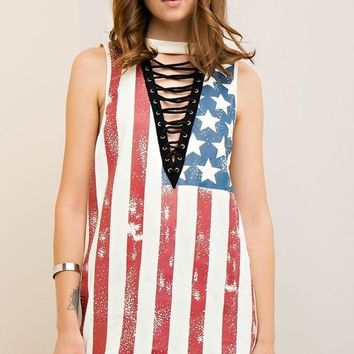 Sleeveless American Flag Lace-Up Top