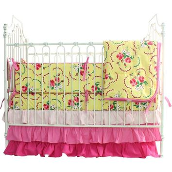 Emma's Yellow Rose Crib Bedding Set