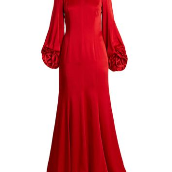 High-neck balloon-sleeved satin gown | Andrew Gn | MATCHESFASHION.COM UK