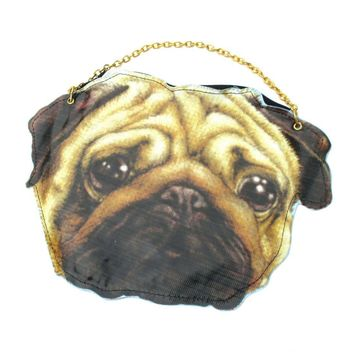 Realistic Pug Face Shaped Vinyl Animal Dog Photo Print Cross Body Shoulder Bag | DOTOLY
