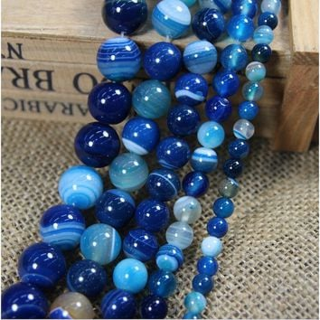 10/20/30/40 X Natural Blue Striped Agate Round Gemstone Loose Spacer Beads Stone