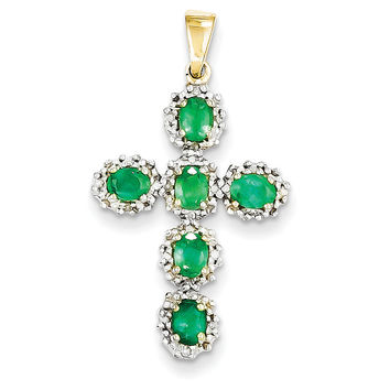 14k Diamond & Emerald Cross Pendant XP2399E/A