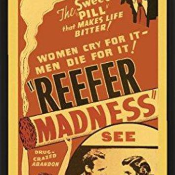 Weed Marijuana Pot Novelty Drug Smoking Humor Print (Framed 12x24 Poster)