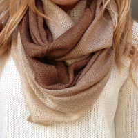 Cream & Brown Ombre Infinity Scarf