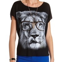 Nerdy Lion Graphic Tee: Charlotte Russe