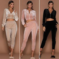2018 Fashion Women Sweatshirt Pants Sets Velvet Tracksuit Velour smooth soft Suit