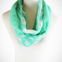 Cozy by LuLu- Grass Hopper Green Dotted Infinity Scarf