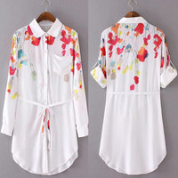 White Printed Button Down Shirt Dress with Belt
