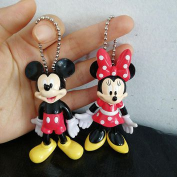 Couple Mickey Minnie Mouse Action Figure Toy PVC Keychain Key Chain Bag Pendant kids Gifts