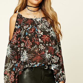 Floral Foliage Print Top