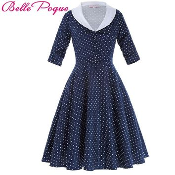 Belle Poque Summer Women Dress 2017 Vintage 50s Polka Dot Cotton Vestido 3/4 sleeve Sailor Collar Rockbilly Daily Party Dresses