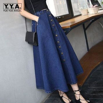 ONETOW New Arrival Spring Fashion Brand Skirt Womens Retro A-line High Waist Long Denim Jean Skirt Spring Button Summer Skirts