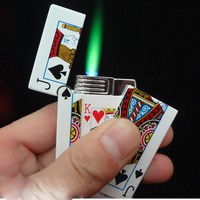 Hot Selling 1pc electric shock lighter Creative Butane gas Lighter Cigarette plastic Poker Lighter Gag Toys Trick Toys