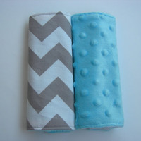 Chevron & Tiffany Blue Minky Reversible Car Seat Strap Covers