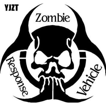 YJZT 13.2CMX12.4CM Fashion ZOMBIE Response Vehicle Skull Vinyl Decal Motorcycle Car Sticker Black/Silver S8-1192