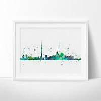 Toronto, Canada Skyline Watercolor Art Print