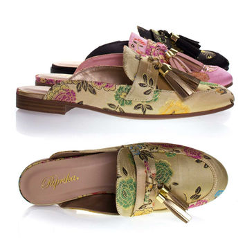 Lulani Champagne Gold By Paprika, slip On Loafer Mule w Tassels & Floral Embroidered Stitching On Satin