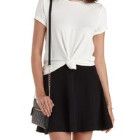 White Solid Crew Neck Tunic Tee by Charlotte Russe
