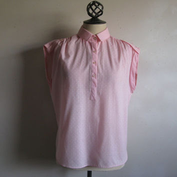 Vintage 1980s Womens Top Light Pink White Polka Dot Cotton 80s Top Large