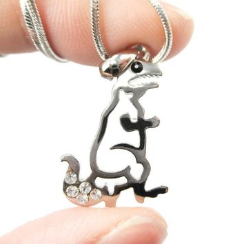 Adorable T Rex Dinosaur Outline Prehistoric Animal Themed Pendant Necklace in Silver