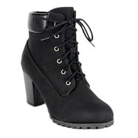 Womens Ankle Boots Rugged Lace Up High Heel Shoes Black