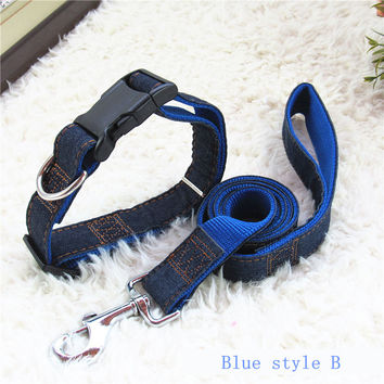 Pet Products Length 120cm High Quality Denim & Nylon Rope Dog Collars Leash Cat Dog Pet Collar Traction Rope