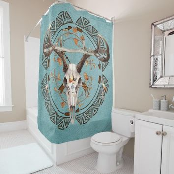 Native American Bohemian Autumn Deer Skull Shower Curtain