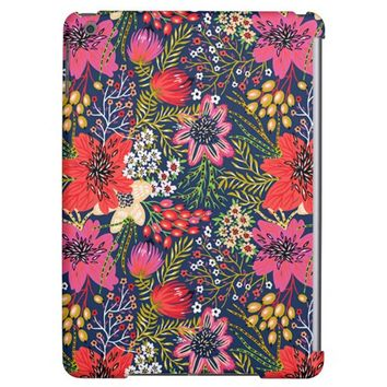 Vintage Bright Floral Pattern Fabric iPad Air Case