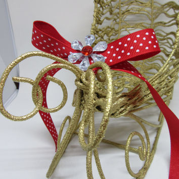 Holiday Christmas Wire Sleigh-Gold-Red Polka Dot Bow-Bling Flower Accent-Holiday Decor-Christmas Decor-Home Decor-Country Decor-Gift-Storage
